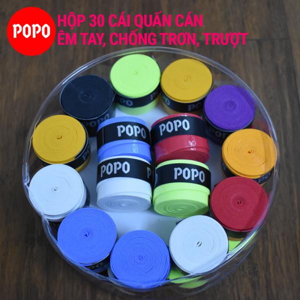 Cuốn cán vợt cầu lông (Hộp 30 cái) POPO OG1 quấn cán tennis, cầu lông mềm mại thoáng khí độ bền cao