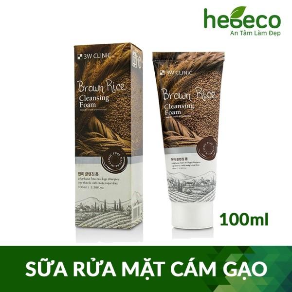 Sữa rửa mặt làm sạch sâu và sáng da chiết xuất từ lúa mạch 3W CLINIC BROWN RICE CLEANSING FOAM 100ml-Hàn Quốc cao cấp