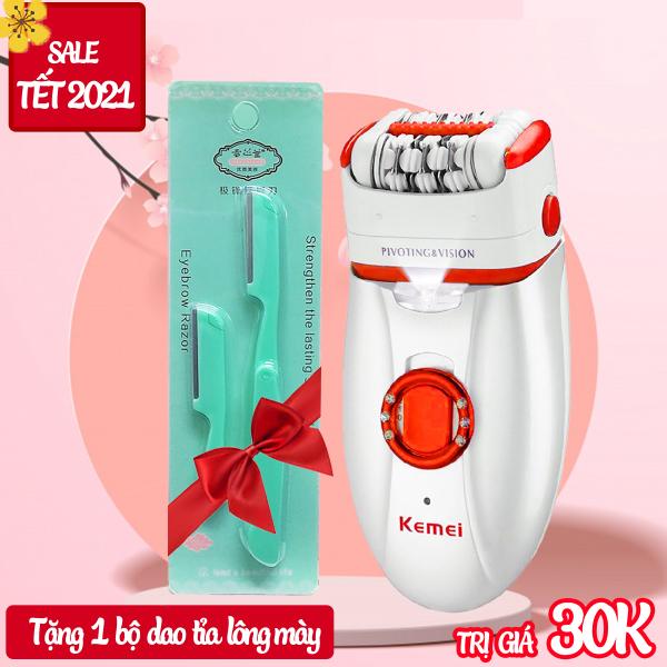 Máy tẩy lông đa năng 2 in 1 Kemei KM-2668 có thể nhổ và cạo lông toàn thân, dùng pin sạc chuyên nghiệp( Màu ngẫu nhiên) cao cấp