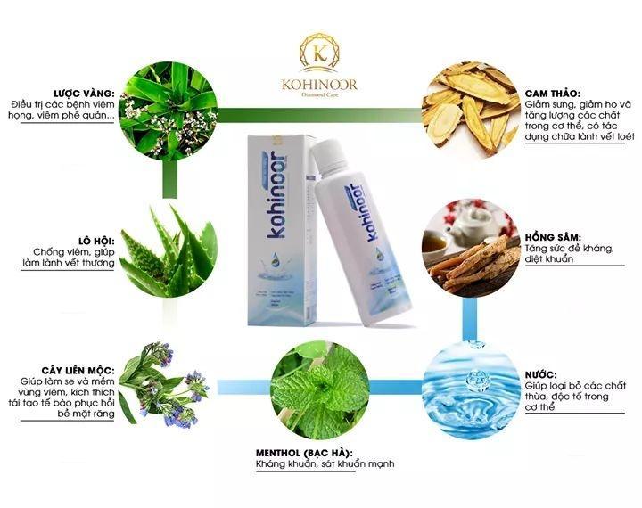 Nước súc miệng Kohinoor giúp trắng răng, ngăn ngừa nhiệt miệng