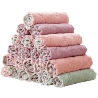 Khăn lau 2 mặt đa năng siêu thấm hút, khăn lau bếp, khăn lau tay, khăn lau mặt, lau xoong nồi, bát đũa không dính dầu mỡ kích thước 15 x 25cm thumbnail