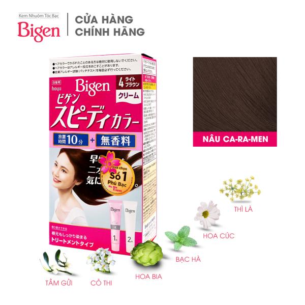 Thuốc nhuộm dưỡng tóc phủ bạc thảo dược Bigen Nhật Nhập Khẩu 100% Nhật Bản Speedy Color Cream 80ml dạng kem - Nâu Caramen 4 giá rẻ