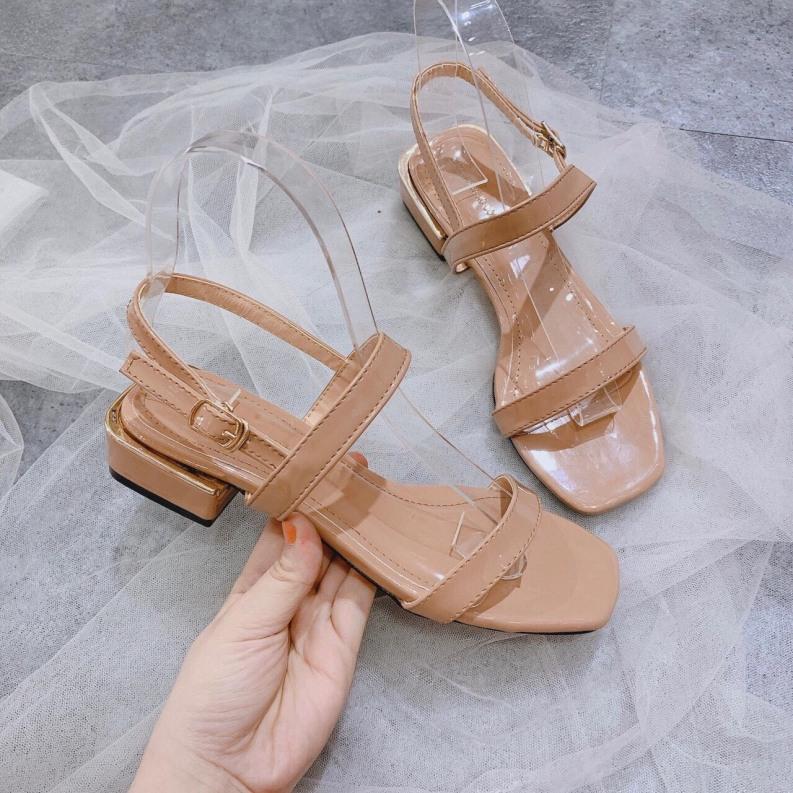 Sandal nữ đế bệt 2 quai mảnh da bóng cực xinh giá rẻ