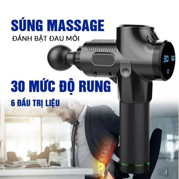 (Xả Kho) Máy Massage Cầm Tay Nhật Bản, Súng Massage Gun Cầm Tay Máy Massage Trị Liệu EM009 6 Đầu Massage 30 Mức Độ Rung - Trị Nhức Mỏi Toàn Thân [ SẢN PHẨM CHÍNH HÃNG ]