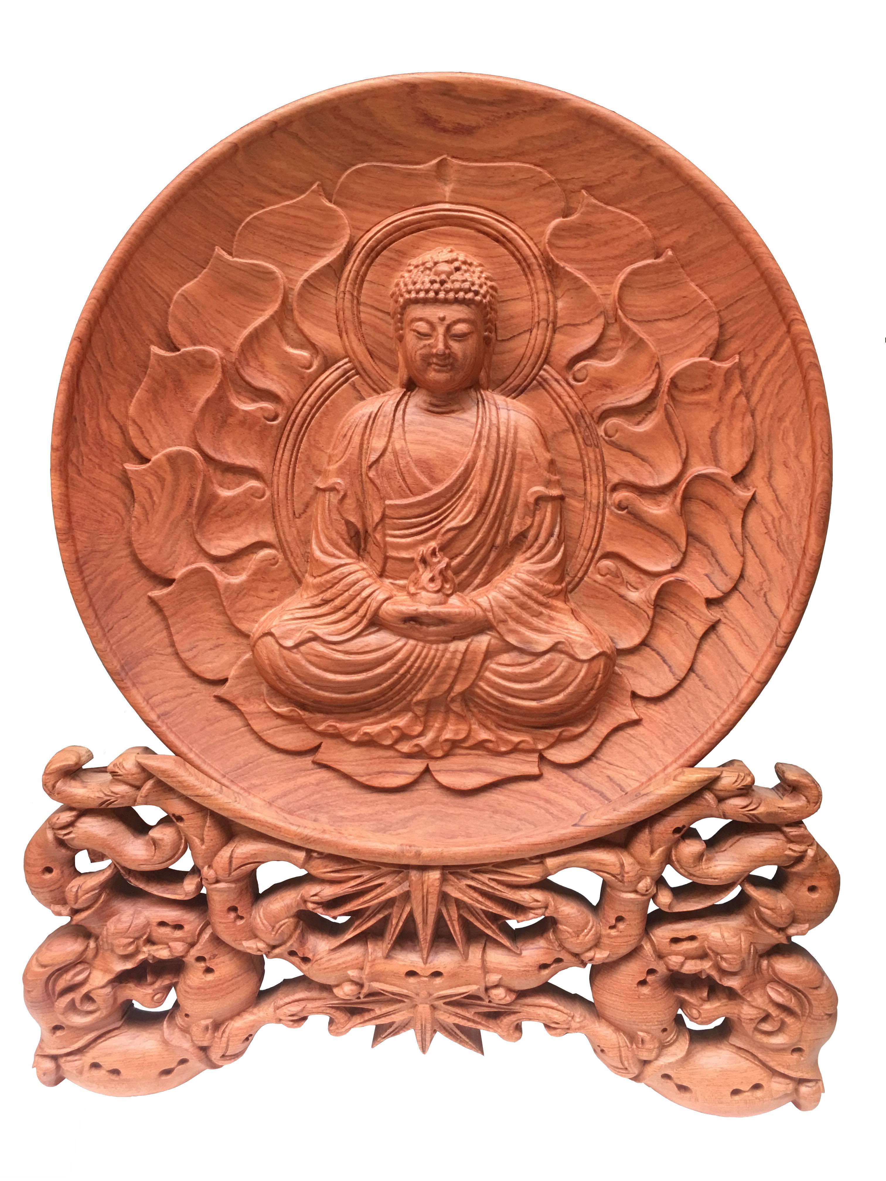 Mua Đĩa gỗ Hương Đá - Phật A Di Đà