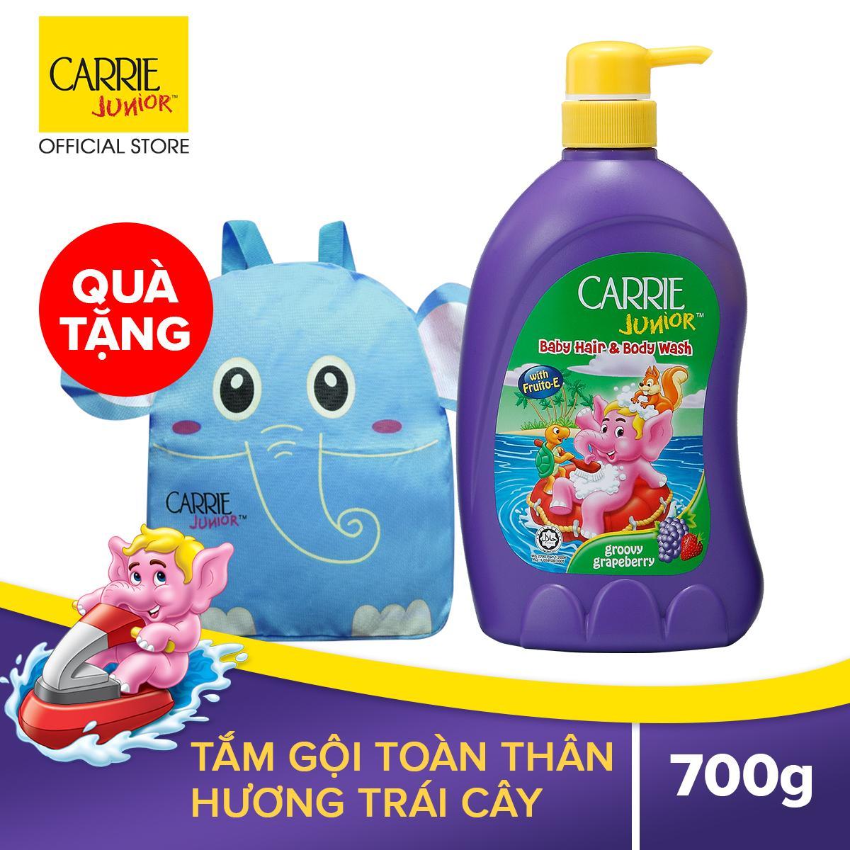 Deal Ưu Đãi Tắm Gội Cho Bé Carrie Junior Hương Grapeberry 700gr Tặng Balo Voi