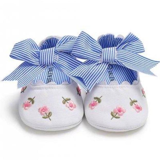 Giày tập đi thêu hoa có đính nơ công chúa cho bé gái BBShine– TD14 giá rẻ