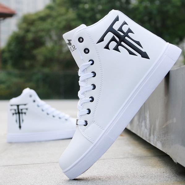 (Có 2 Màu) Giày cổ cao da nam trắng in thánh giá siêu chất - B end T Shop giá rẻ