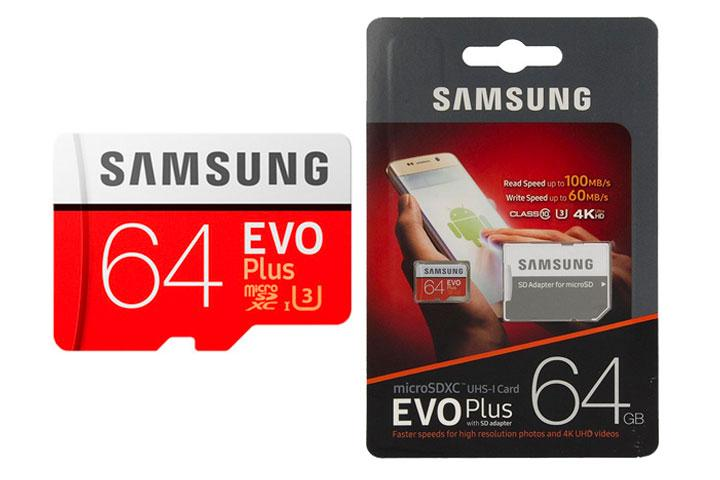 Thẻ nhớ micro SD samsung Evo plus 64GB 80Mb/s (new version) + Adapter