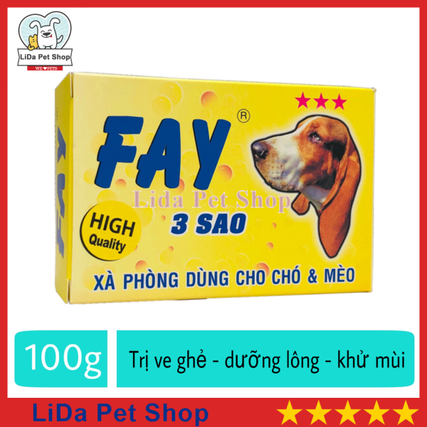 HN- Xà phòng tắm trị ve ghẻ, dưỡng lông, khử mùi cho chó mèo - Fay 3 sao 100g - Lida Pet Shop