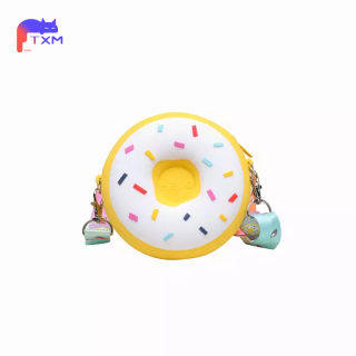 Silicone Kids Bag Cute Donut Coin Purse - Waterproof Child Shoulder Bag with Colorful Strap, Mini Round Bag, Boys Girls Cartoon Bag thumbnail
