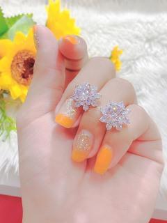 Bông tai bạc nữ hình cánh hoa JK Silver kiểu dáng Hàn Quốc mạ vàng 18K đính kim cương nhân tạo, công nghệ xi vàng 4 lớp cao cấp không đen, không phai màu, không gây dị ứng, trang sức nữ cao cấp thumbnail
