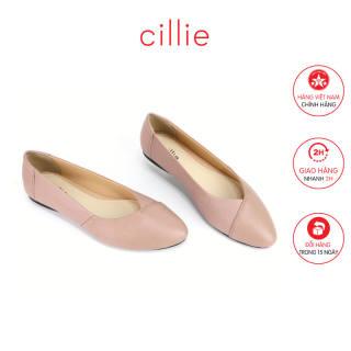 Giày búp bê mũi nhọn da thật Cillie 1122