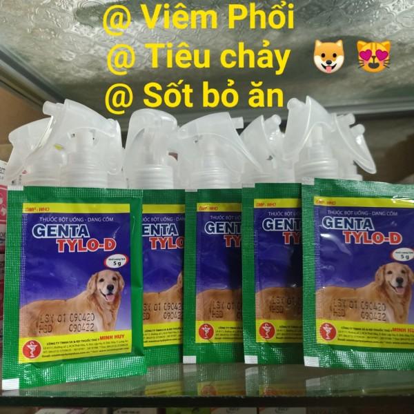 [HCM]5 Gói Genta Tylo D 5Gr - Sốt Bỏ Ăn Chó