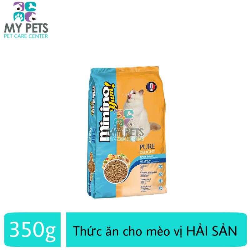 Thức ăn vị hải sản dành cho mèo mọi lưa tuổi - thức ăn cho mèo minino yum 350g