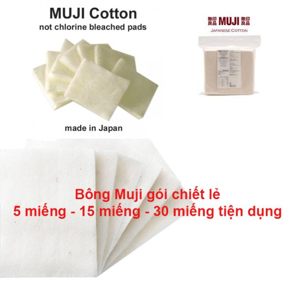 Bông tẩy trang hữu cơ Muji Nhật Bản tách lớp chiết lẻ tiện lợi giá rẻ