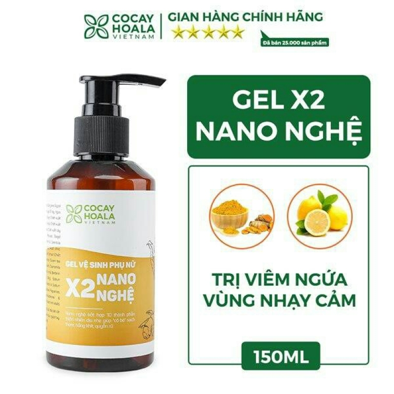 Dung dịch vệ sinh x2 nano Nghệ cocayhoala hồng, se khít, hết viêm ngứa hiệu quả 150ml giá rẻ