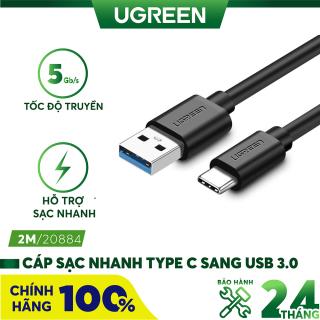 [Nhập ELMAY21 giảm thêm 10% đơn từ 99k] Dây cáp sạc và truyền dữ liệu tốc độ nhanh USB 3.0 sang USB type C, dòng 3A, dài 0.5-2m UGREEN US184 thumbnail