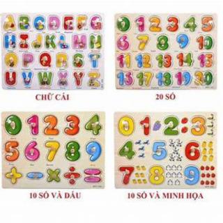 Combo 3 bảng núm gỗ lắp ghép chữ, số và hình khối , các hình ngộ nghĩ cho bé thumbnail