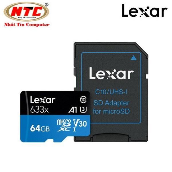 Thẻ Nhớ MicroSDXC Lexar 64GB A1 V30 633x U3 4K 95MB/s - kèm Adapter (Xanh)