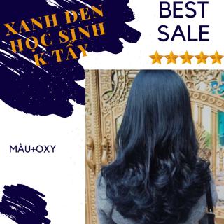 Nhuộm tóc màu xanh dương đen kl2.8 + oxy cho học sinh k cần tẩy thumbnail