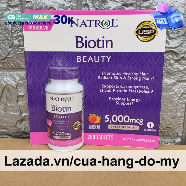 Viên Ngậm Hỗ Trợ Mọc Tóc Natrol Biotin 5000mcg Maximum Strength Fast Dissolve 250 Viên - Biotin 5000 mcg nhập khẩu