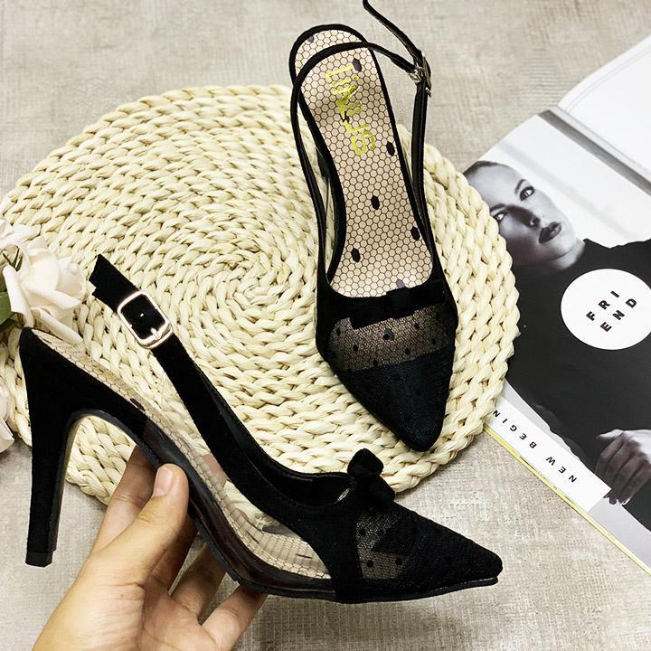 (Bảo hành 12 tháng) Giày cao gót nữ mũi lưới chấm bi đính nơ quai hậu eo phối Mika trong thời trang - Giày nữ gót nhọn cao 7cm - Giày nữ da Nhung mềm phối lưới 2 màu Đen và Hồng Da - Linus LN220