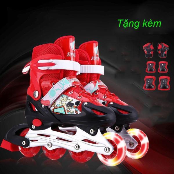 Giá bán giày patin trẻ em [ TẶNG BỘ ĐỆM BẢO VỆ ] - giày trượt patin cho bé từ 3 -15 tuổi, bánh xe phát sáng, kích thước giày có thể điều chỉnh linh hoạt