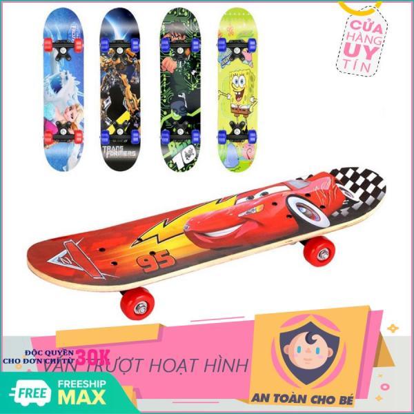 Giá bán Ván trượt - Ván trượt hoạt hình cho bé - Đồ chơi cho bé-Ván trượt Thể thao cho trẻ em Skateboard từ 2 - 6 tuổi, chất liệu gỗ phong ép cao cấp, hình siêu nhân và nhiều hình cho bé- Giao mẫu ngẫu nhiên
