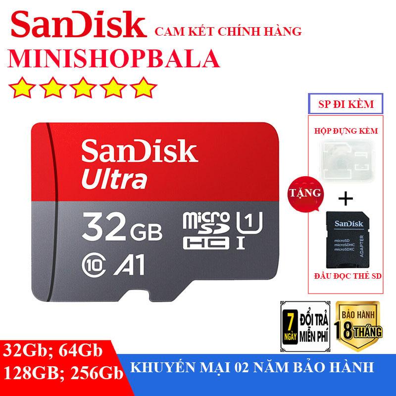 thẻ nhớ micro 32gb,64gb,128gb,26gb,Thẻ SANDISK, bảo hành lên đến 4 năm. Tặng kèm đầu đọc SD.