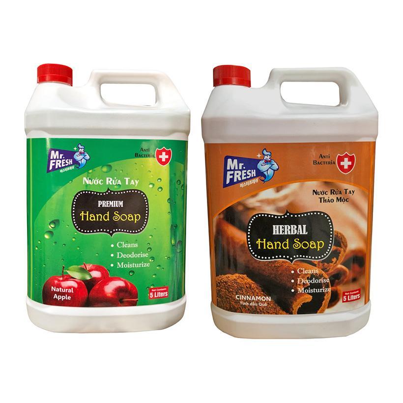 Combo 2 can Nước rửa tay khử mùi Mr.Fresh 5L Hương Quế & Hương Táo (5L/can)
