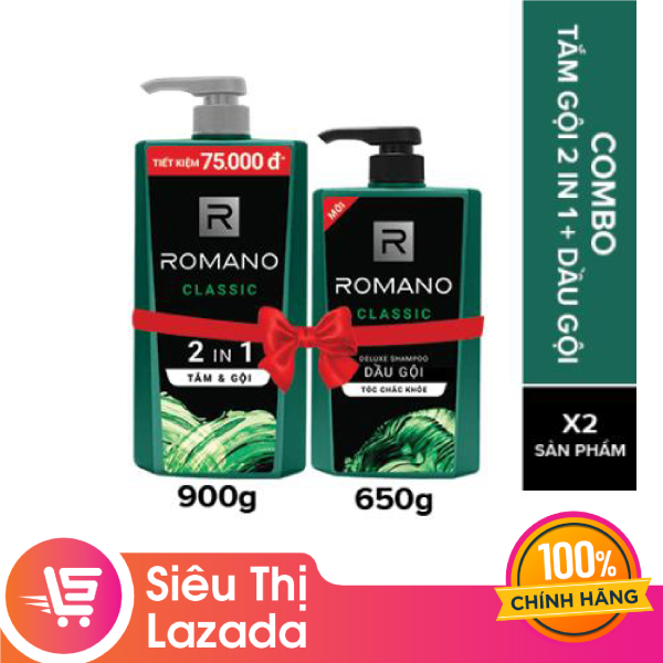 Combo Romano Classic: Tắm Gội 2in1 900g và Dầu Gội 650g