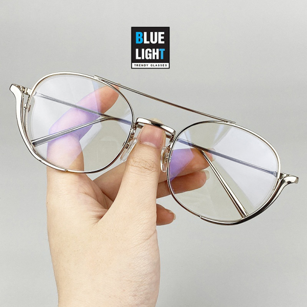 Giá bán Kính Giả Cận, Gọng Kính Cận Nam Nữ Mắt Vuông Cá Tính Gọng Bạc Đen Không Độ Hàn Quốc - BLUE LIGHT SHOP