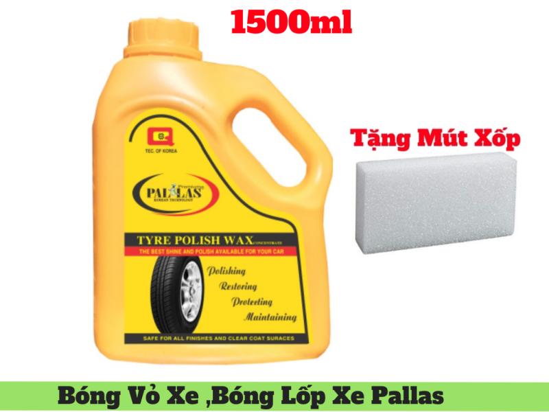 Xịt Đánh Bóng Vỏ Xe ,Đánh Bóng Lốp Xe Polish Wax Pallas 1.5 Lít Tặng Mút