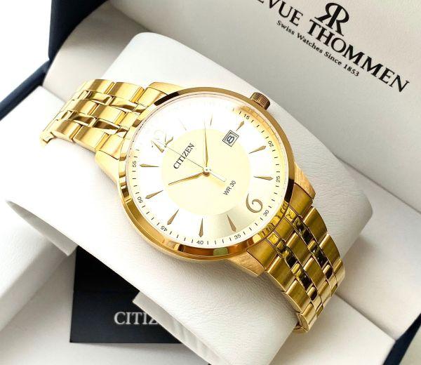 Đồng hồ Nam Citizen (Quartz) DZ0032-59P Size 41mm,Mặt vàng,Lịch ngày-Máy Pin-Dây kim loại mạ vàng cao cấp