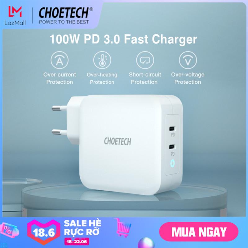 Giá [Hot deal] Bộ sạc USB Type C CHOETECH 100W, Cung cấp năng lượng 3.0 Bộ sạc nhanh 2 cổng USB C & GaN TechType C