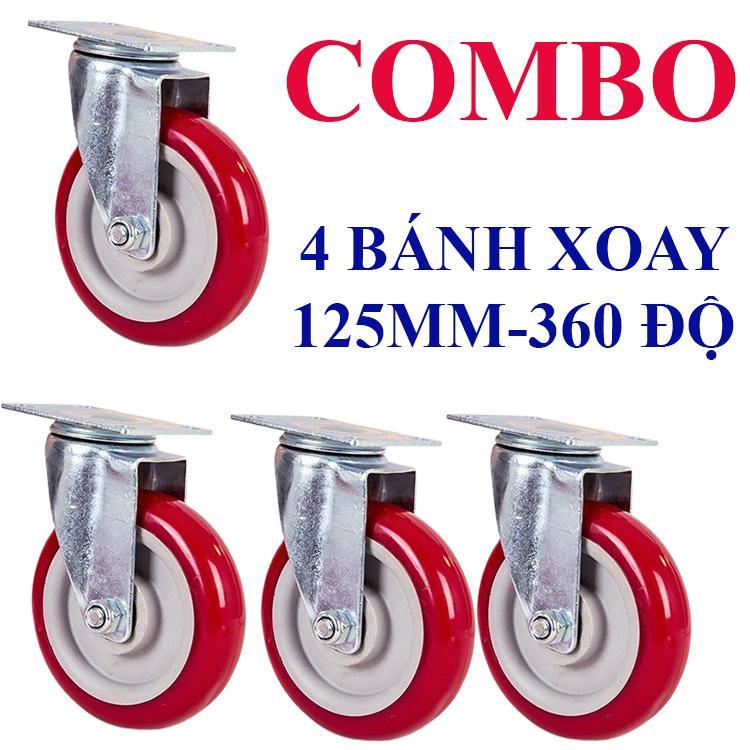 Bánh xe đẩy 125mm - Combo 4 bánh Xoay 360 Tổng tải 270kg -WPU5T-140X-ND