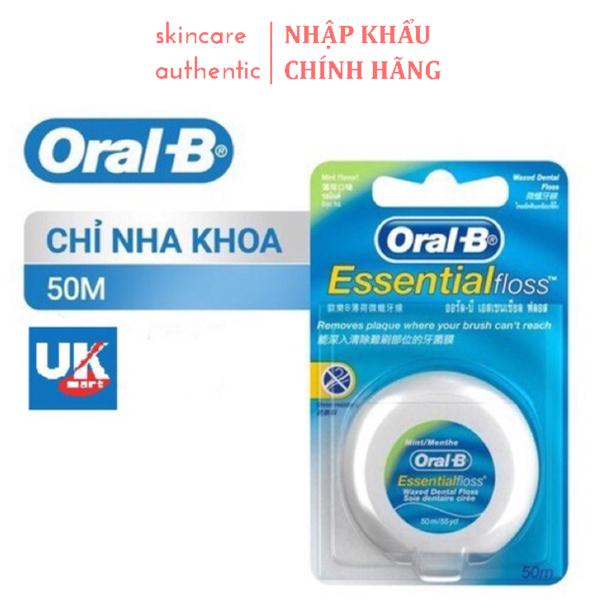 Chỉ Nha Khoa Cao Cấp Nhập UK Oral-B Essential Floss 50m, chỉ nha khoa không làm thưa chân răng