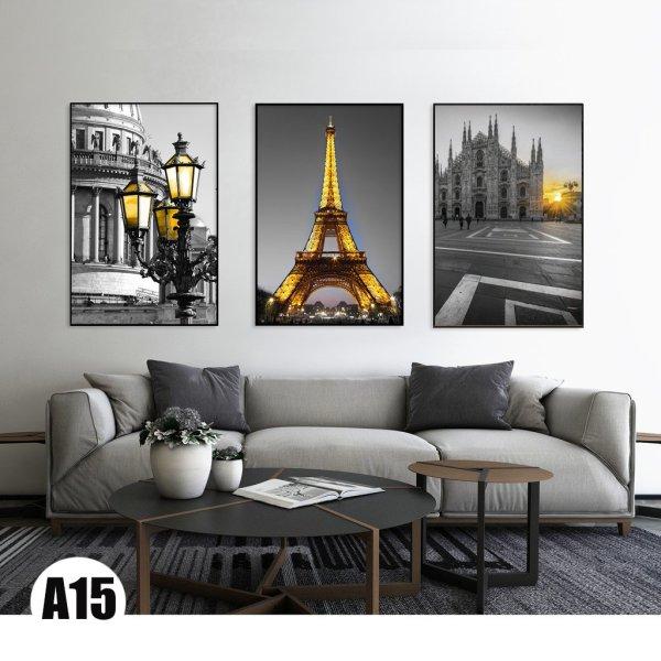 Tranh treo tường 3 bức họa tiết Paris tông màu vàng đen siêu đẹp cỡ lớn (40x60cm)