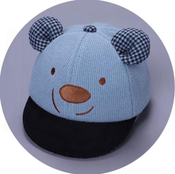 [Màu xanh] Nón trẻ em, mũ lưỡi trai hình gấu cho bé trai