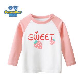 T-Shirts Áo Sơ Mi Mặc Lót Dài Tay Cho Trẻ Em Quần Áo Trẻ Em, Dâu Tây Ngọt Màu Hồng Cho Trẻ Em, Cho 1-8Years