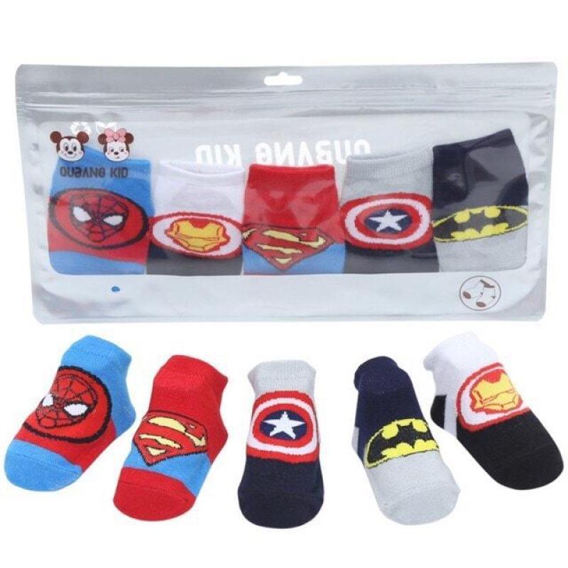 Tất/vớ cho bé , Sét 5 đôi tất trẻ em hình siêu nhân anh hùng cho bé- set 5 tất siêu nhân nhiều hình cho bé tha hồ lựa chọn - giao màu ngẫu nhiên