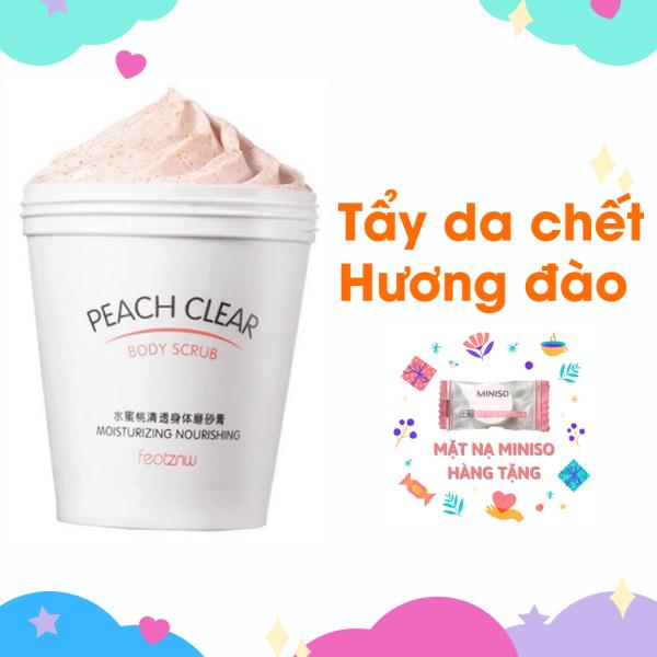 Tẩy da chết hương đào Peach Clear body scrub heyxi nội địa trung 200ml dùng toàn thân cho mọi loại da mặt và body