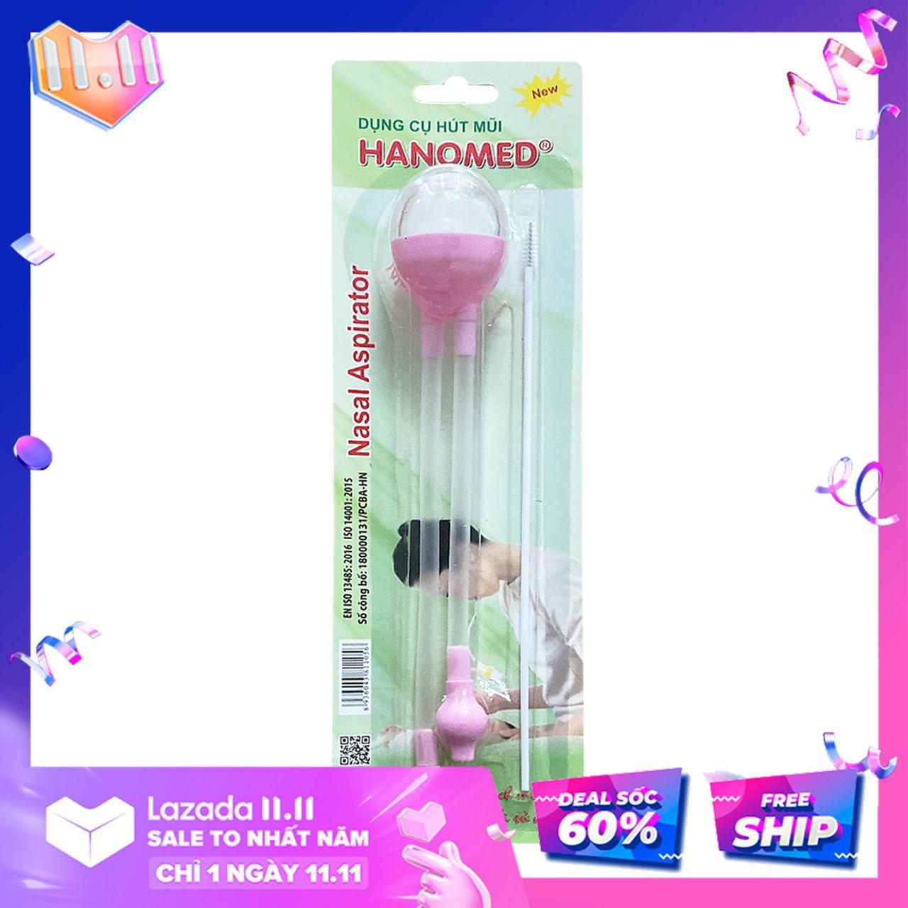 Dụng cụ hút mũi cho bé - máy hút, ống hút mũi dây 2 đầu Hanomed thông minh làm sạch thông thoáng khoang mũi và đường thở, ngăn ngừa, hạn chế viêm họng, ho có đờm hiệu quả an toàn với trẻ sơ sinh