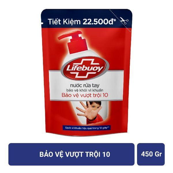 Nước rửa tay Lifebuoy Bảo vệ vượt trội 10 (Đỏ) Túi 450g