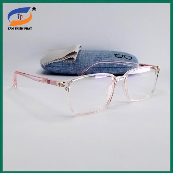 Giá bán Gọng kính cận nam nữ dẻo màu hồng, đen và nâu nhạt. Tròng giả cận 0 độ, chống ánh sáng xanh