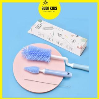 Bộ cọ rửa bình sữa silicon 3 chi tiết cho bé cao cấp tay cầm xoay 360 độ SUSIKIDS thumbnail