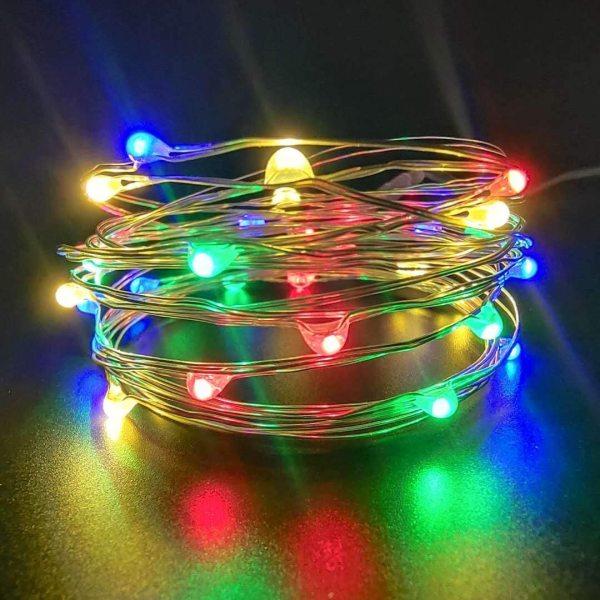 Đèn Led Xài Pin Nhiều Màu Không Chớp Nháy-Dài 3M 30 Bóng Đèn Led Fairy Light Trang Trí Quấn Cây Đào Quất Sân Vườn Noel Lễ Tết