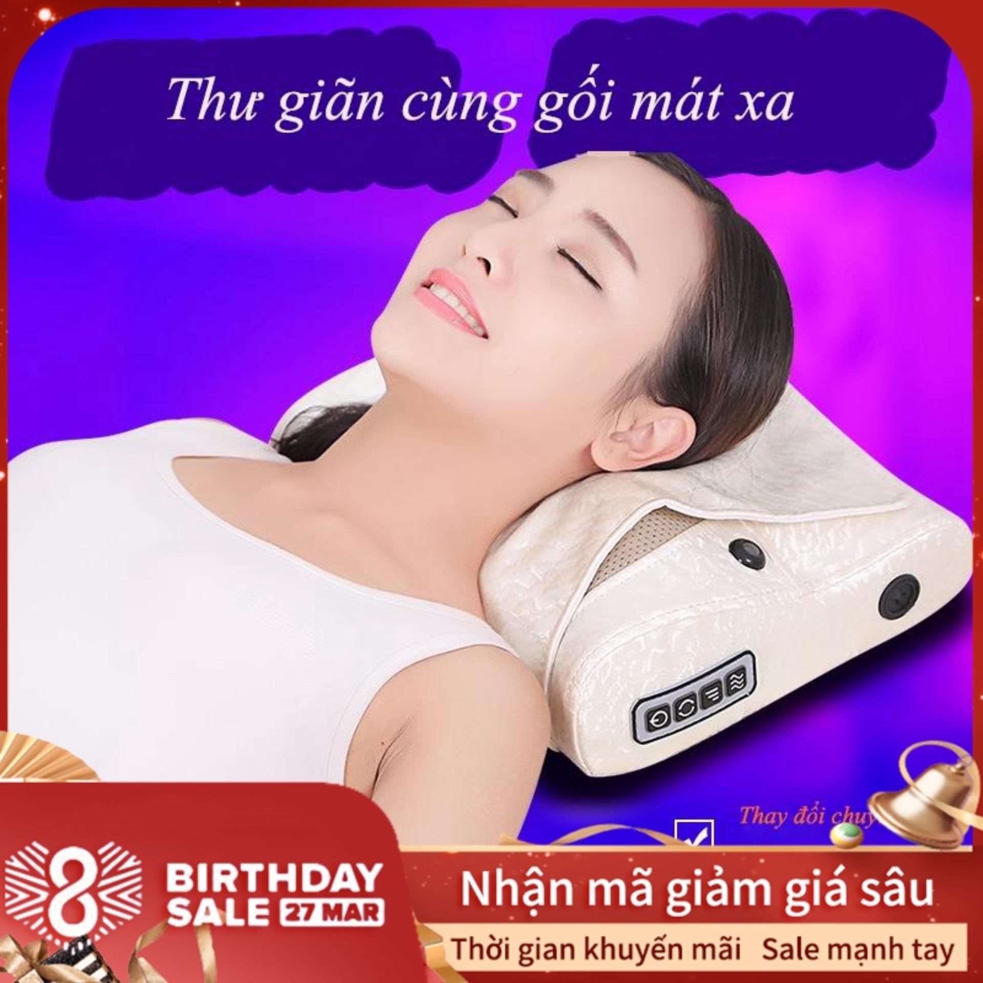 Gối massage vai gáy, gối massage gia dụng đa chức năng, massage vai gáy toàn thân nhập khẩu
