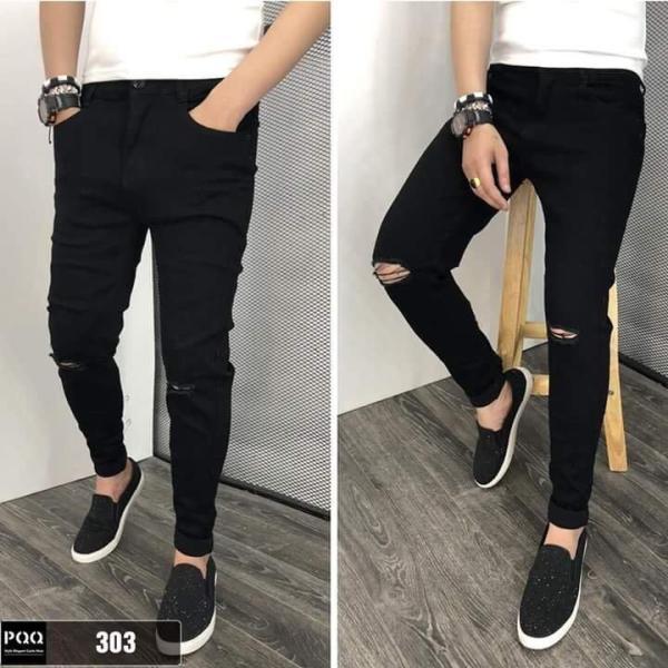 Quần Jeans Nam Rách Form ôm tôn dáng